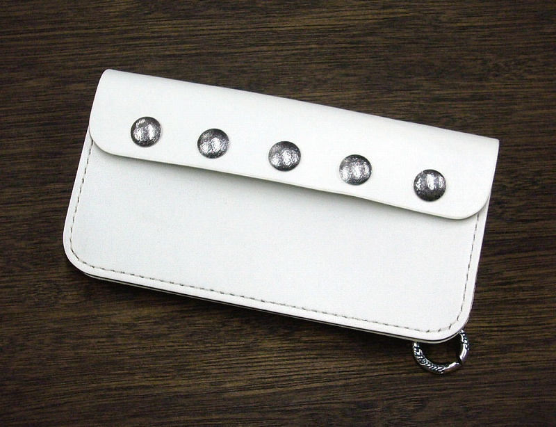 "*LYNCH*LNC707STUDS-BIKER WALLET-""STUDS CUSTOM""(WHITE)"