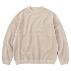moss stitch L/S sweat Beige